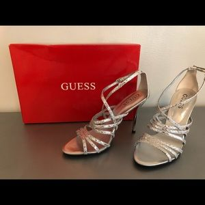 Guess silver leather heels, size 6 1/2 NEW IN BOX!